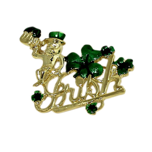 Lucky Leprechaun and Four Leaf Clover Brooch Gold