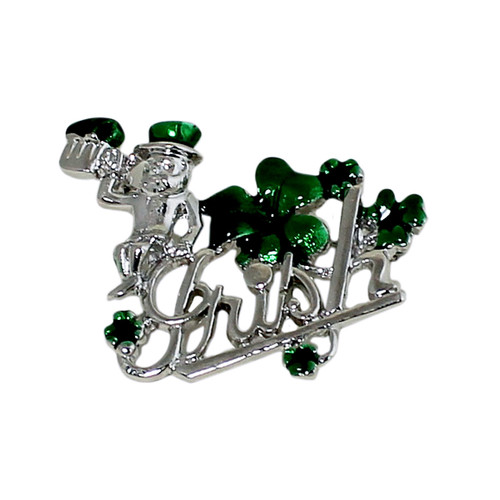 Lucky Leprechaun and Four Leaf Clover Brooch Silver