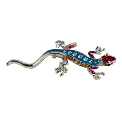 Crystal Gecko Brooch Silver and Blue