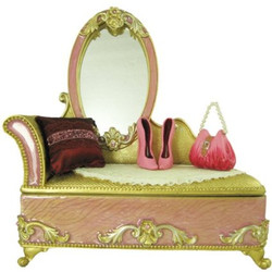 Victorian Dresser Jewelry Box Ring Organizer Pink