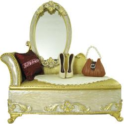 Victorian Dresser Jewelry Box Ring Organizer Ivory