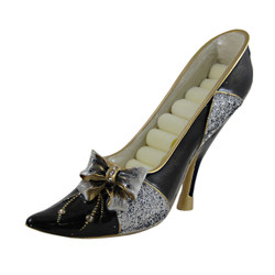 Bow Ring Holder Shoe Sequined Black