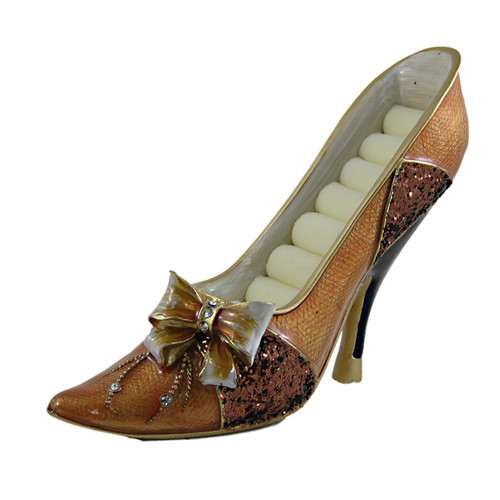 Bow Ring Holder Shoe Sequined Brown