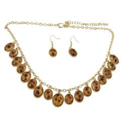Teardrop Tortoise Necklace and Earrings Set