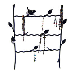 Bird Wire Frame Jewelry Stand Rack Black