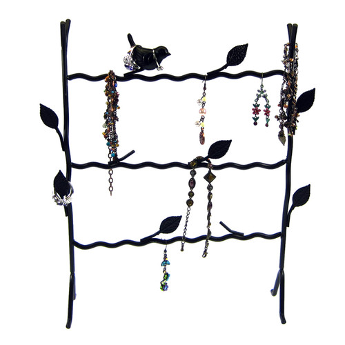 Bird Wire Frame Jewelry Stand Rack Black