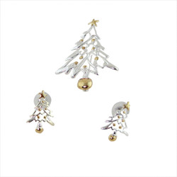 Silver and Gold Christmas Tree Brooch and Earrings