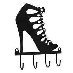 Stiletto Cage Strap Boot Metal Wall Hook Black with Rhinestones (JUST RESTOCKED)