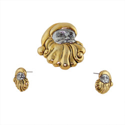Silver and Gold Santa Face Brooch and Earrings Set