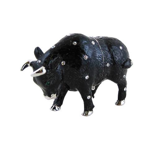 Black Bull Trinket Box Bejeweled