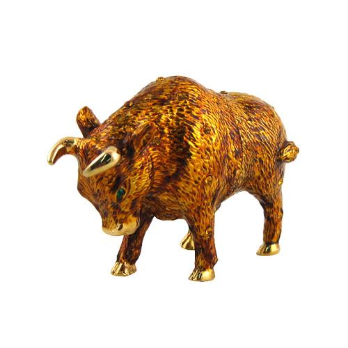 Gold Bull Trinket Box Bejeweled