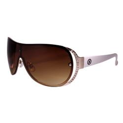 Rhinestone Detail Sheild Style Sunglasses White