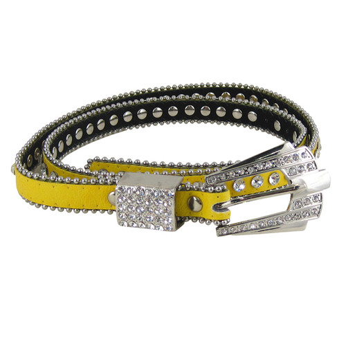 Rhinestone Fashion Belt Jeweled Yellow (S-M)