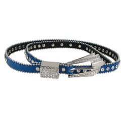 Rhinestone Fashion Belt Jeweled Blue (M-L)