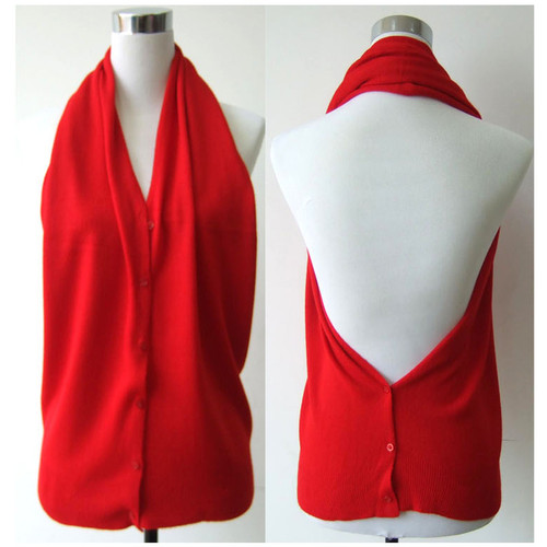 Multi Use Soft Scarf with Buttons Red