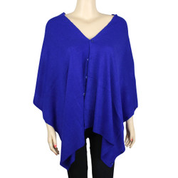 Multi Use Soft Scarf with Buttons Royal Blue