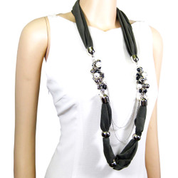 Pearlescent Bead Acrylic Jewelry Scarf Olive Green