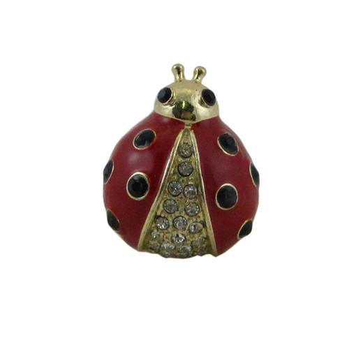Bedazzled Ladybug Ring Oversize