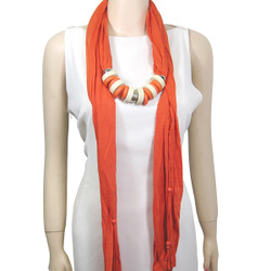 Wood and Metal Rings Jewelry Scarf Orange