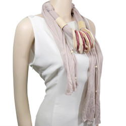 Wood Rings Jewelry Scarf Ivory