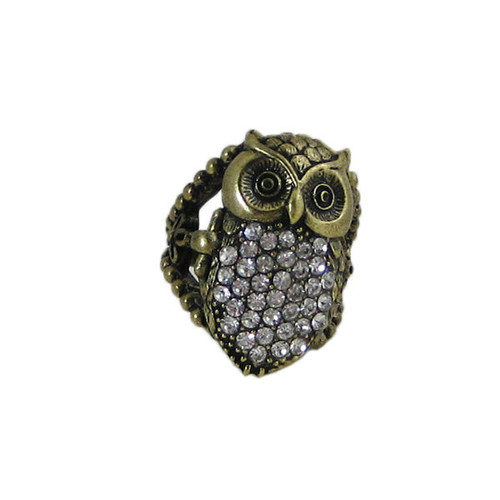 Bejeweled Antique Gold Owl Ring Size 7.5