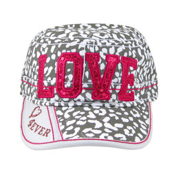 White and Pink Love Cadet Cap