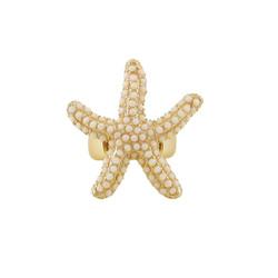 Oversize Textured Starfish Stretch Ring Ivory