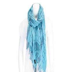Striped Fringed Scarf Aqua