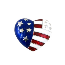 American Flag Heart Shaped Stretch Ring Patriotic