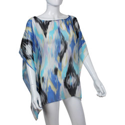 Beach Poncho Coverup Watercolor Print Blue