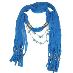 Dangling Beads Jewelry Scarf Blue