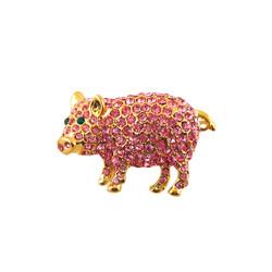 Piggie Pin Light Pink Bejeweled