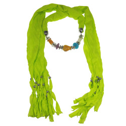 Multicolor Beads Jewelry Scarf Neon Green