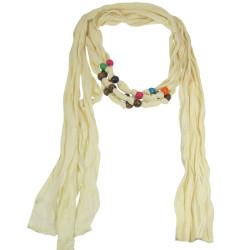 Wood Beads Jewelry Scarf Ivory