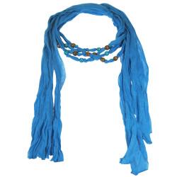 Wood Beads Jewelry Scarf Blue