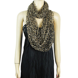 Confetti Infinity Scarf Black and Beige