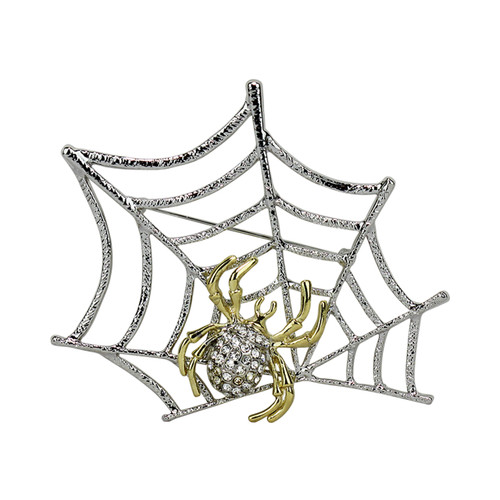 Spider on Web Two Tone Brooch Pin Bejeweled