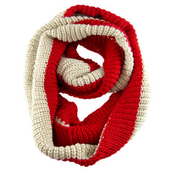 Thick Weave Striped Infinity Scarf Red
