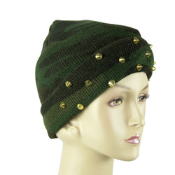 Camo Spiked Studs Beanie Gold