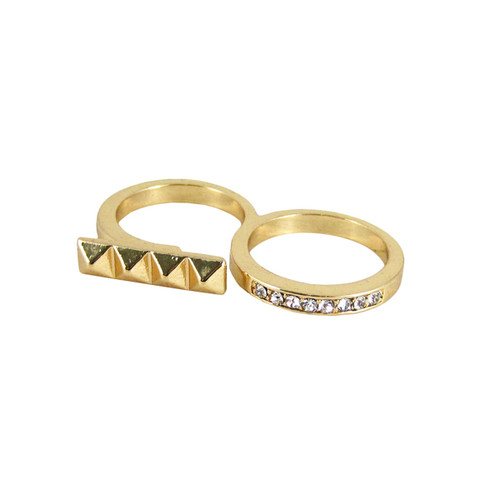 Double Finger Ring Gold Tone Stud