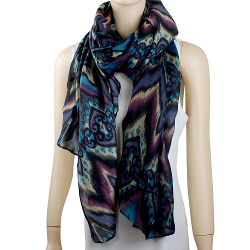 New Tribal Pattern Scarf Teal and Plum