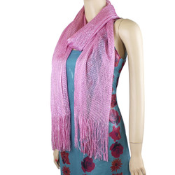 Shimmer and Shine Fringed Scarf Angel Pink