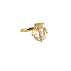 Finger Tip Anchor Ring Gold Tone Bejeweled