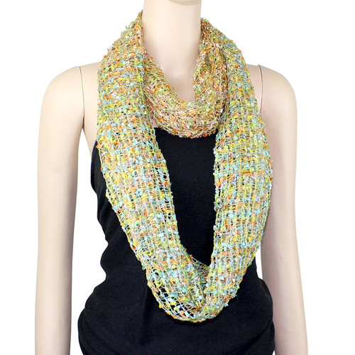 All New Two in One Confetti Infinity Scarf Lime/Orange and Lime/Teal
