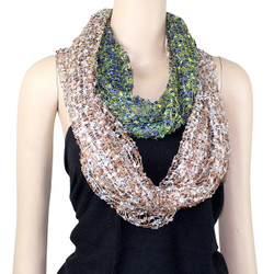 All New Two in One Confetti Infinity Scarf Green/Navy and Beige/White