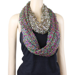 All New Two in One Confetti Infinity Scarf Teal/Fuchsia and Olive/Brown