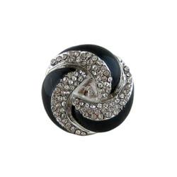 Dazzling Black Swirl Ring Crystals