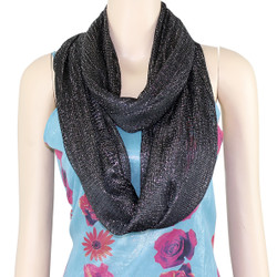 Shimmer and Shine Infinity Scarf Black and Silver
