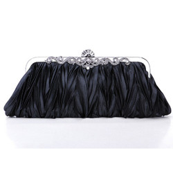 Vintage Style Evening Clutch Pleated Purse Black
