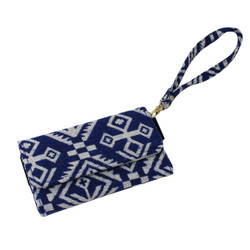 Tribal Pattern Cell Phone Wristlet Blue and White